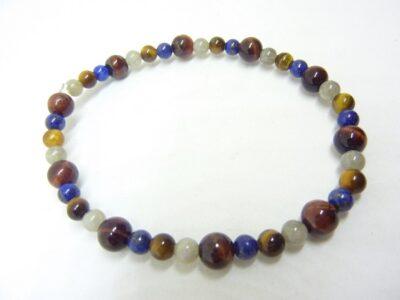 Bracelet Oeil de tigre-Taureau-Labradorite-Lapis lazuli Perles 6-4 mm