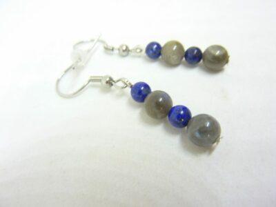 Boucles d'oreilles labradorite-lapis lazuli