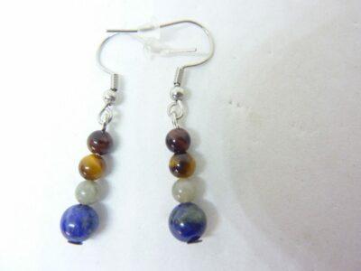 Boucles d'oreilles Oeil de tigre-Taureau-Labradorite-Lapis lazuli