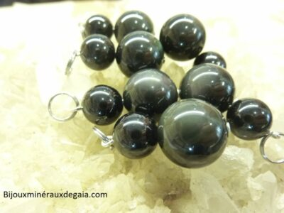 Pendentif Spinelle noir-Obsidienne oeil céleste Méga protection