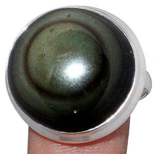 Bague Obsidienne oeil céleste monture en argent 925