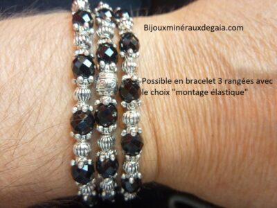Collier ou bracelet spinelle noir qualité AA