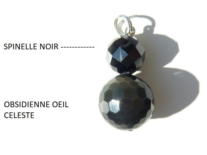 Pendentif obsidienne oeil céleste-spinelle noir méga protection