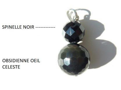 Pendentif méga protection spinelle noir et obsidienne oeil celeste perles à facettes 10-14 mm