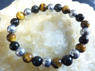Bracelet Oeil de tigre-Obsidienne oeil céleste-Hématite
