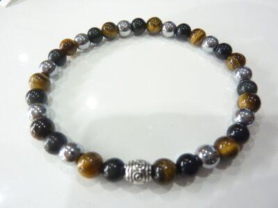 Bracelet Oeil de tigre-obsidienne oeil céleste-hématite-perles rondes 6mm