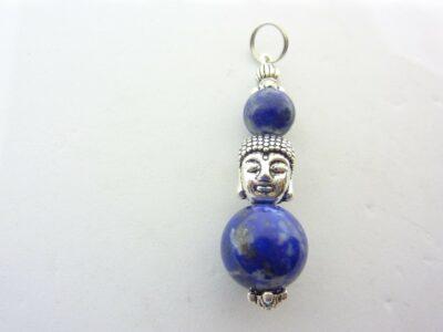Pendentif Bouddha Lapis lazuli perles 12-8 mm longueur 4 cm