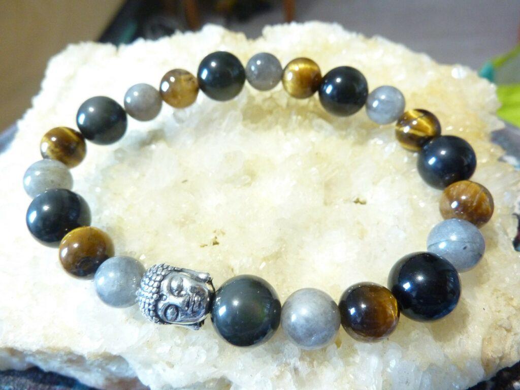Bracelet protection Oeil de tigre-Labradorite-Obsidienne oeil céleste