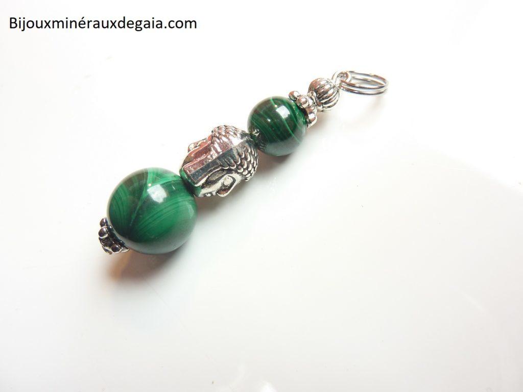 Pendentif Bouddha malachite perles 12-8 mm longueur 4 cm