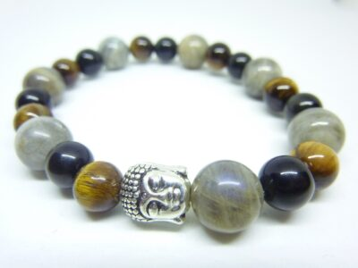 Bracelet protection Oeil de tigre-Obsidienne oeil céleste-Labradorite
