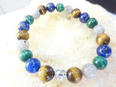 Bracelet Malachite-Lapis lazuli-oeil de tigre-Labradorite