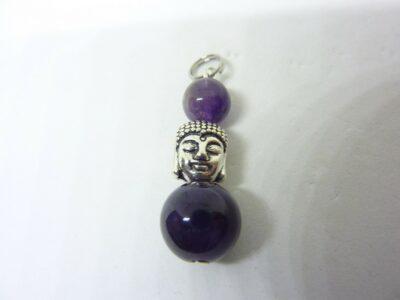 Pendentif sagesse Bouddha Amethyste perle 12 - 8 mm longueur 3,5 cm