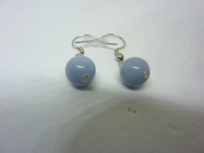BOUCLES D'OREILLES ANGELITE (anhydrite) PERLES 10 MM