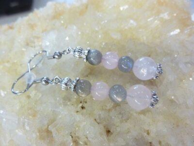 Boucles d'oreilles Labradorite-quartz rose