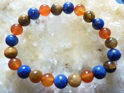 Bracelet lapis lazuli,cornaline,oeil de tigre Perles rondes 8 mm
