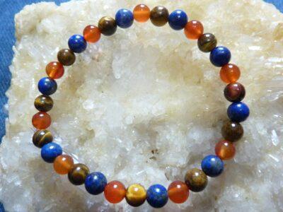 Bracelet lapis lazuli,cornaline,oeil de tigre Perles rondes 6 mm