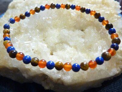 Bracelet lapis lazuli,cornaline,oeil de tigre Perles rondes 4 mm