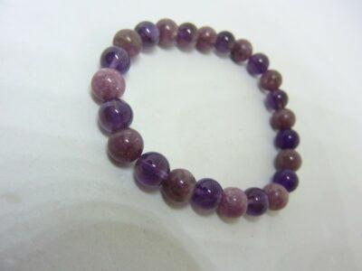 Bracelet lépidolite-améthyste perles rondes 8 mm