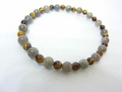 Bracelet protection Oeil de tigre-Labradorite perles 6-4 mm