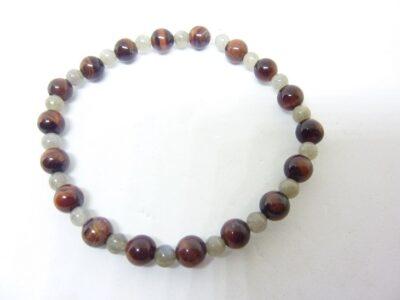 Bracelet protection Oeil de taureau-Labradorite perles 6-4 mm