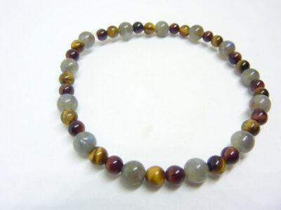 Bracelet protection Labradorite-Oeil de tigre-Taureau perles 6-4 mm