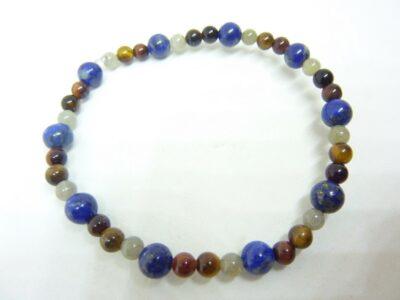Bracelet protection oeil de tigre-taureau-Labradorite-Lapis lazuli perles 6-4 mm