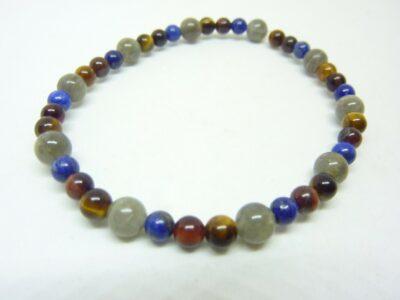 Bracelet protection Lapis lazuli-Labradorite-Oeil de tigre-taureau 6-4 mm