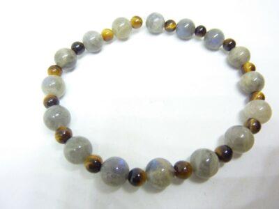 Bracelet protection Oeil de tigre-Labradorite perles 7-4 mm
