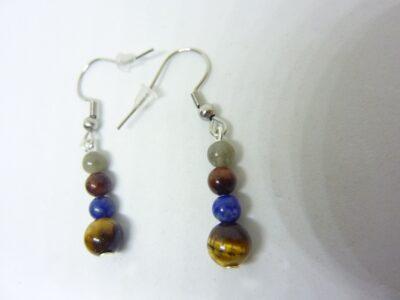 Boucles d'oreilles Oeil de tigre-Taureau-Lapis lazuli-Labradorite