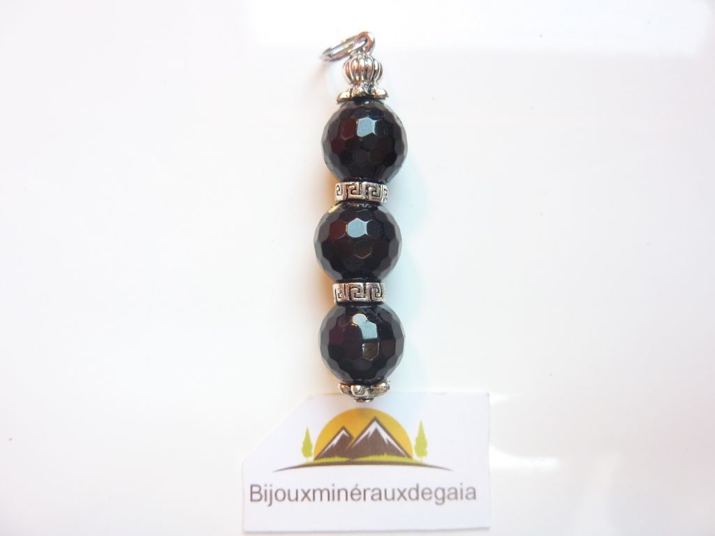 Pendentif Spinelle noir - Perles rondes à facettes 10 mm