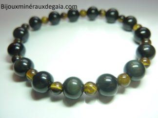 Bracelet Oeil de tigre-Obsidienne oeil céleste-Perles rondes 8-4 mm