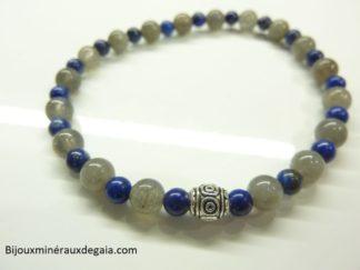 Bracelet Lapis lazuli-Labradorite - Perles rondes 6-4 mm