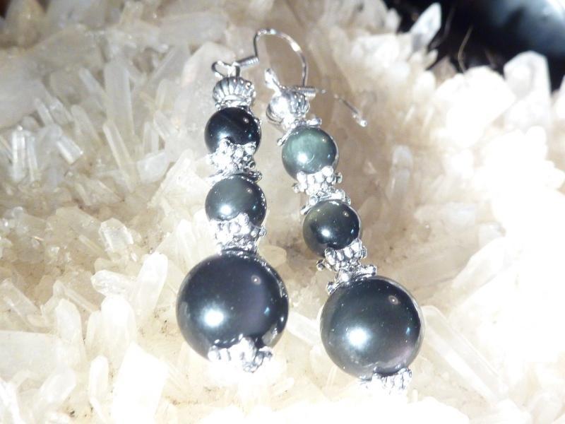 Boucles d'oreilles Obsidienne oeil celeste