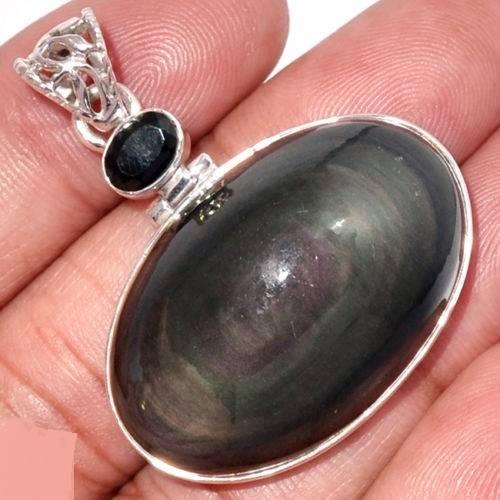 Pendentif protection obsidienne oeil celeste et onyx noir monture arg925 6237