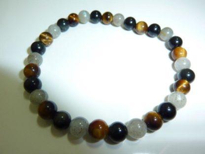 Bracelet Oeil de tigre,Labradorite,Obsidienne oeil celeste Perles rondes 6 mm protection extreme
