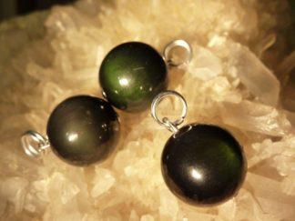 Pendentif protection obsidienne oeil celeste sphere 1,4 cm a l'unité