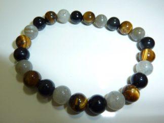 Bracelet protection: Oeil de tigre,Labradorite,Obsidienne oeil celeste perles rondes de 8mm