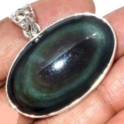 Pendentif protection obsidienne oeil celeste monture argent 925 ref 3332