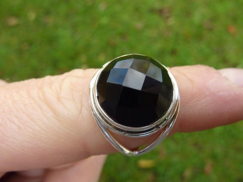 Bague en onyx noir monture en argent 925 taille  57 3/4 ref 4768