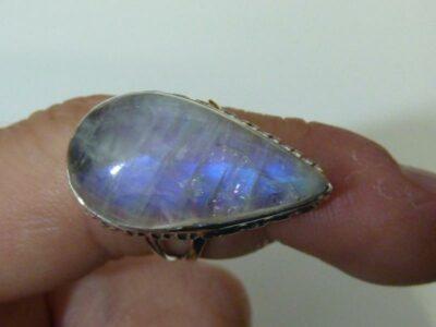 Bague pierre de lune monture en argent 925 taille 56 ref 4669