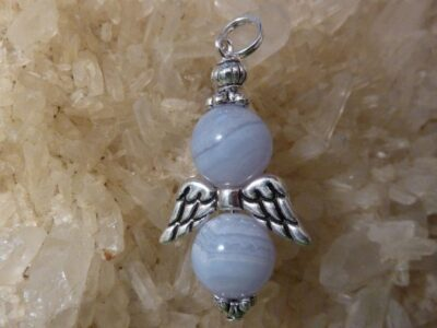 Pendentif Calcédoine bleue-Ange perles 10mm