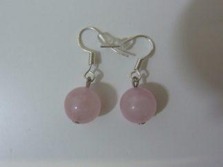Boucles d'oreilles quartz rose-perles rondes 10 mm