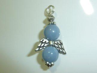 Pendentif ange Angélite (anhydrite) perles rondes 10 mm