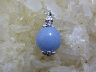 Pendentif Angélite (anhydrite) - perle ronde 12 mm