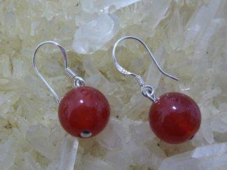 Boucles d'oreilles cornaline perles rondes 10 mm