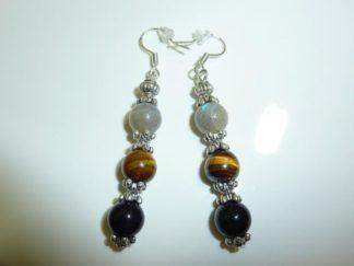 Boucles d'oreilles protection extreme Oeil de tigre Labradorite Obsidienne oeil celeste Perles 8mm