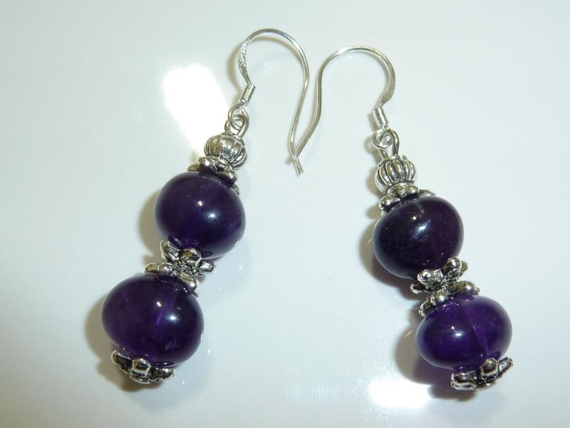 Boucles d'oreilles en pierres naturelles amethyste perles multiformes