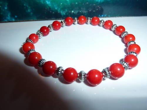 Bracelet corail rouge et perles plaqué argent