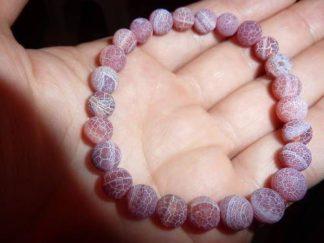 Bracelet Agate veine de dragon perles rondes 7 mm