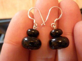 Boucles d'oreilles en tourmaline noire